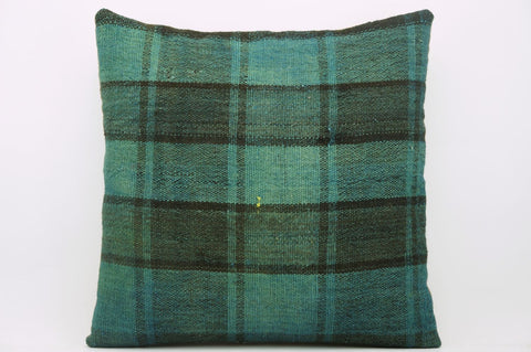 CLEARANCE 16x16  Hand Woven wool green black plaid  Kilim Pillow  cushion 1076_A Wool pillow cover - kilimpillowstore  - 1
