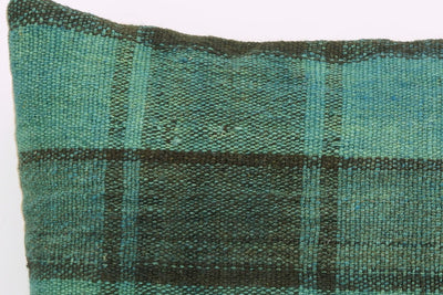 CLEARANCE 16x16  Hand Woven wool green black plaid  Kilim Pillow  cushion 1076_A Wool pillow cover - kilimpillowstore  - 3