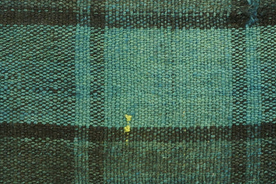 CLEARANCE 16x16  Hand Woven wool green black plaid  Kilim Pillow  cushion 1076_A Wool pillow cover - kilimpillowstore  - 2