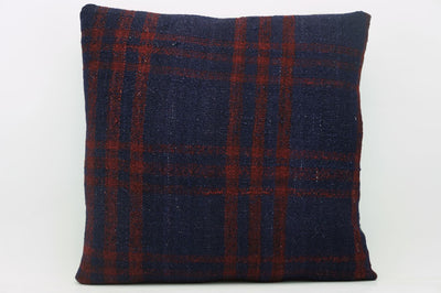 CLEARANCE 16x16  Hand Woven wool green black plaid  Kilim Pillow  cushion 1081_A Wool pillow cover,navy blue,claret red - kilimpillowstore  - 1