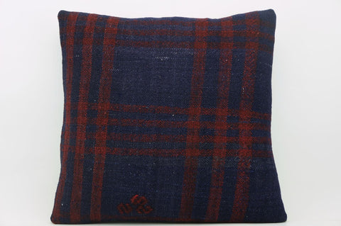 CLEARANCE 16x16  Hand Woven wool green black plaid  Kilim Pillow  cushion 1083_A Wool pillow cover,navy blue,claret red - kilimpillowstore  - 1