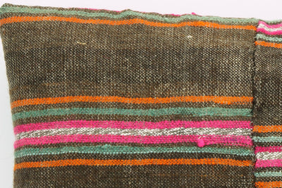 CLEARANCE 16x16  Hand Woven wool striped  Kilim Pillow  cushion 1108_A Wool pillow ,striped,pink,brown,orange - kilimpillowstore  - 4