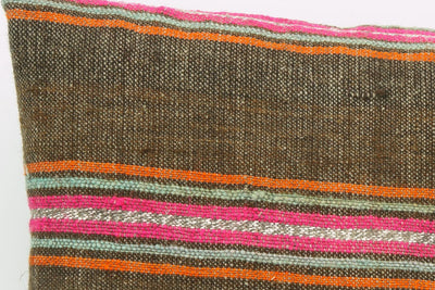 CLEARANCE 16x16  Hand Woven wool striped  Kilim Pillow  cushion 1109_A Wool pillow ,striped,pink,brown,orange - kilimpillowstore  - 4