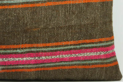 CLEARANCE 16x16  Hand Woven wool striped  Kilim Pillow  cushion 1110_A Wool pillow ,striped,pink,brown,orange - kilimpillowstore  - 2