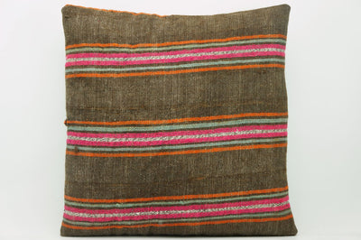 CLEARANCE 16x16  Hand Woven wool striped  Kilim Pillow  cushion 1110_A Wool pillow ,striped,pink,brown,orange - kilimpillowstore  - 1