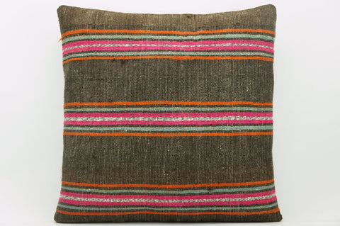 CLEARANCE 16x16  Hand Woven wool striped  Kilim Pillow  cushion 1119_A Wool pillow ,striped,pink,brown,orange - kilimpillowstore  - 1
