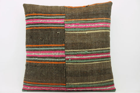 CLEARANCE 16x16  Hand Woven wool  Kilim Pillow  cushion 1100_A Wool pillow ,striped,pink,brown - kilimpillowstore  - 1