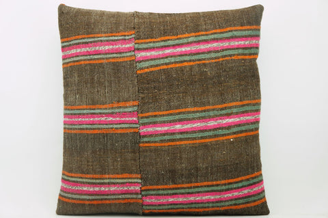 CLEARANCE 16x16  Hand Woven wool striped  Kilim Pillow  cushion 1101_A Wool pillow ,striped,pink,brown - kilimpillowstore  - 1