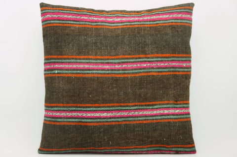 CLEARANCE 16x16  Hand Woven wool striped  Kilim Pillow  cushion 1104_A Wool pillow ,striped,pink,brown,orange - kilimpillowstore  - 1