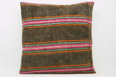 CLEARANCE 16x16  Hand Woven wool striped  Kilim Pillow  cushion 1105_A Wool pillow ,striped,pink,brown,orange - kilimpillowstore  - 1