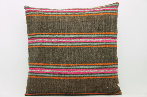 CLEARANCE 16x16  Hand Woven wool striped  Kilim Pillow  cushion 1107_A Wool pillow ,striped,pink,brown,orange - kilimpillowstore  - 1