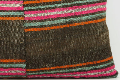 CLEARANCE 16x16  Hand Woven wool striped  Kilim Pillow  cushion 1108_A Wool pillow ,striped,pink,brown,orange - kilimpillowstore  - 2