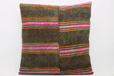 CLEARANCE 16x16  Hand Woven wool striped  Kilim Pillow  cushion 1108_A Wool pillow ,striped,pink,brown,orange - kilimpillowstore  - 1