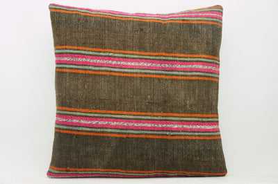 CLEARANCE 16x16  Hand Woven wool striped  Kilim Pillow  cushion 1109_A Wool pillow ,striped,pink,brown,orange - kilimpillowstore  - 1