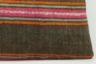 CLEARANCE 16x16  Hand Woven wool striped  Kilim Pillow  cushion 1109_A Wool pillow ,striped,pink,brown,orange - kilimpillowstore  - 2