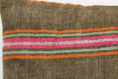 CLEARANCE 16x16  Hand Woven wool striped  Kilim Pillow  cushion 1110_A Wool pillow ,striped,pink,brown,orange - kilimpillowstore  - 4