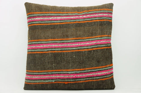 CLEARANCE 16x16  Hand Woven wool striped  Kilim Pillow  cushion 1112_A Wool pillow ,striped,pink,brown,orange - kilimpillowstore  - 1