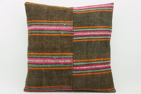 CLEARANCE 16x16  Hand Woven wool striped  Kilim Pillow  cushion 1116_A Wool pillow ,striped,pink,brown,orange - kilimpillowstore  - 1