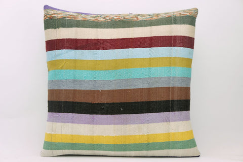 16x16  Hand Woven wool colourfull splashy multi colour  striped  Kilim Pillow  cushion 1134_A - kilimpillowstore  - 1