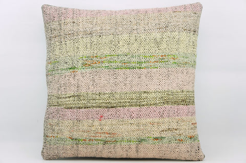 CLEARANCE 16x16  Hand Woven wool multi colour splashy pink green striped  Kilim Pillow  cushion 1158_A - kilimpillowstore  - 1