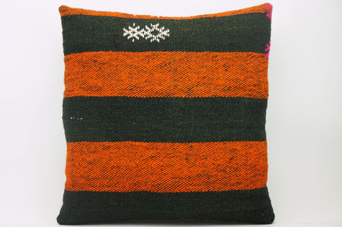 CLEARANCE 16x16  Hand Woven wool orange black striped  Kilim Pillow  cushion 1129_A - kilimpillowstore  - 1