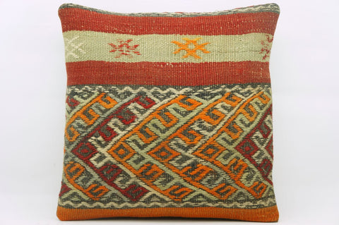 CLEARANCE 16x16 Hand Woven wool multi colour orange red  striped tribal Kilim Pillow cushion 1176 - kilimpillowstore  - 1