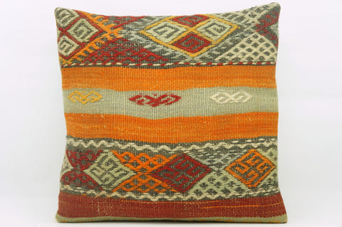CLEARANCE 16x16 Hand Woven wool multi colour orange red  striped tribal Kilim Pillow cushion 1179 - kilimpillowstore  - 1