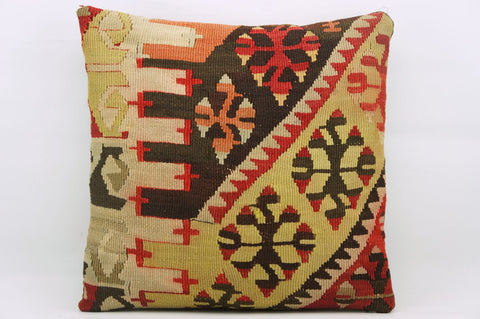 CLEARANCE 16x16 Hand Woven wool red yellow  tribal Kilim Pillow cushion 1198 - kilimpillowstore  - 1