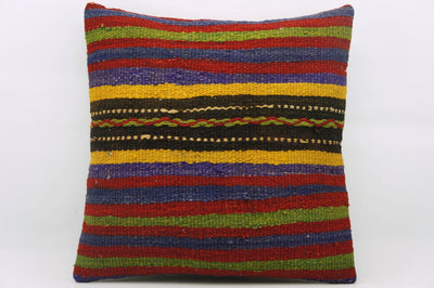 CLEARANCE 16x16 Hand Woven wool green yellow green striped anatolian Kilim Pillow cushion 1201 - kilimpillowstore  - 1