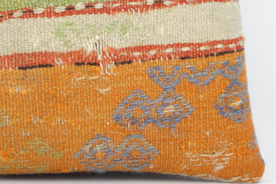 CLEARANCE 16x16 Hand Woven wool purple green orange striped pale  Kilim Pillow cushion 1258 - kilimpillowstore  - 4