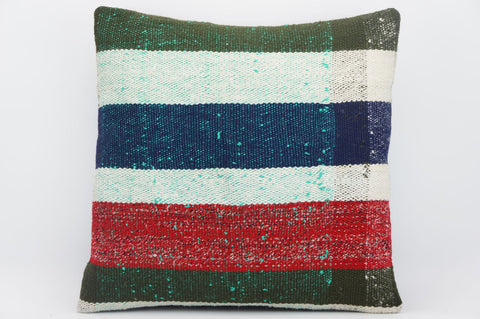 CLEARANCE 16x16 Hand Woven wool striped green blue  pale  Kilim Pillow cushion 1265 - kilimpillowstore  - 1