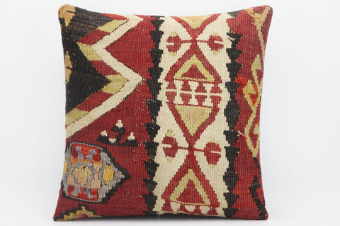 CLEARANCE 16x16 Hand Woven wool tribal ethnic beige black  Kilim Pillow cushion 1286 - kilimpillowstore  - 1