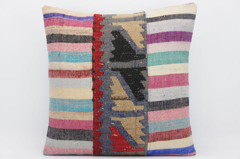 CLEARANCE 16x16 Hand Woven wool tribal ethnic patchwork  Kilim Pillow cushion 1298 - kilimpillowstore  - 1