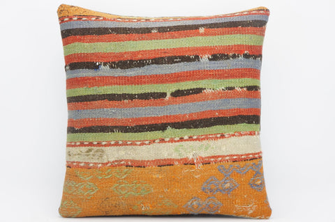 CLEARANCE 16x16 Hand Woven wool purple green orange striped pale  Kilim Pillow cushion 1258 - kilimpillowstore  - 1