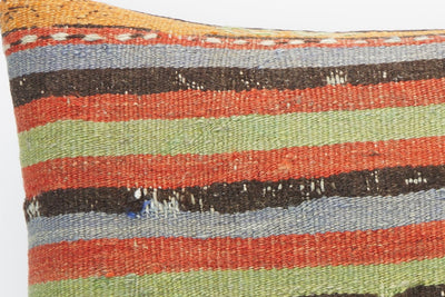 CLEARANCE 16x16 Hand Woven wool purple green orange striped pale  Kilim Pillow cushion 1258 - kilimpillowstore  - 3