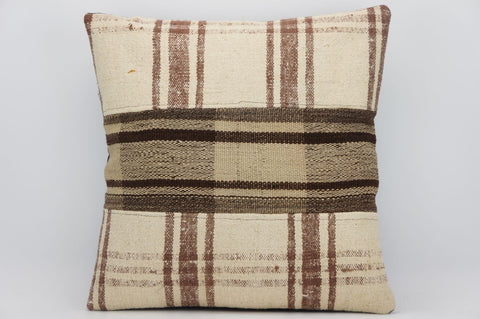 CLEARANCE 16x16 Hand Woven wool tribal ethnic patchwork  plaid Kilim Pillow cushion 1293 - kilimpillowstore  - 1