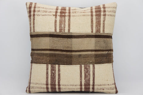 CLEARANCE 16x16 Hand Woven wool tribal ethnic patchwork  plaid Kilim Pillow cushion 1294 - kilimpillowstore  - 1