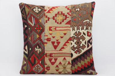 CLEARANCE 16x16 Hand Woven wool tribal ethnic patchwork  Kilim Pillow cushion 1313 - kilimpillowstore  - 1