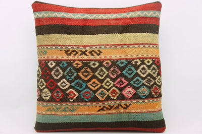 CLEARANCE 16x16 Hand Woven wool tribal ethnic patchwork  Kilim Pillow cushion 986 - kilimpillowstore  - 1