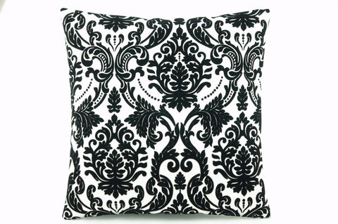 CLEARANCE Damask white black  Pillow cushion 16'' - kilimpillowstore  - 1