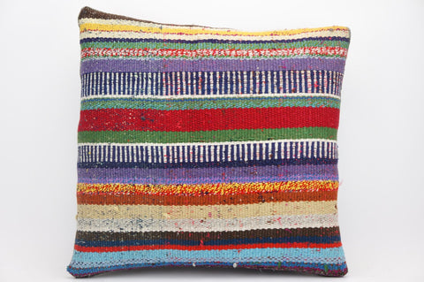 CLEARANCE 16x16 Hand Woven wool tribal ethnic striped Kilim Pillow cushion 1328_A - kilimpillowstore  - 1