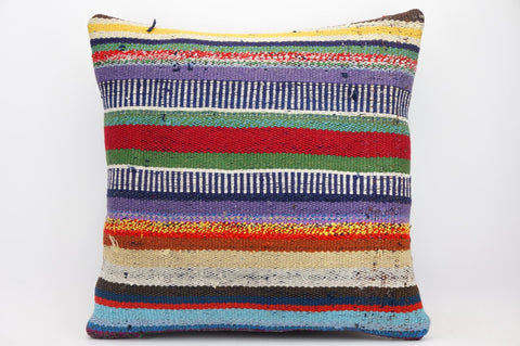 CLEARANCE 16x16 Hand Woven wool tribal ethnic striped  Kilim Pillow cushion 1333_A - kilimpillowstore  - 1