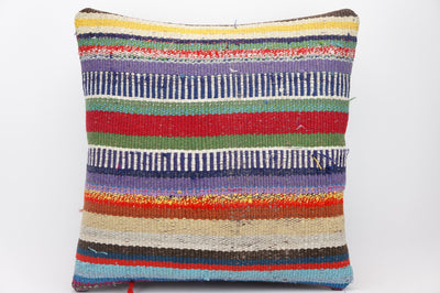 16x16 Hand Woven wool tribal ethnic striped  Kilim Pillow cushion 1324 - kilimpillowstore  - 1