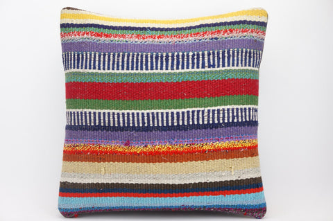 CLEARANCE 16x16 Hand Woven wool tribal ethnic striped Kilim Pillow cushion 1327 - kilimpillowstore  - 1