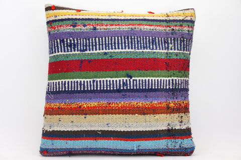 CLEARANCE 16x16 Hand Woven wool tribal ethnic striped Kilim Pillow cushion 1330_A - kilimpillowstore  - 1