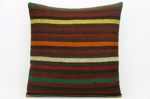 CLEARANCE Striped kilim pillow cover , Old kilim pillow, 16x16 kilim pillow  1412 - kilimpillowstore  - 1