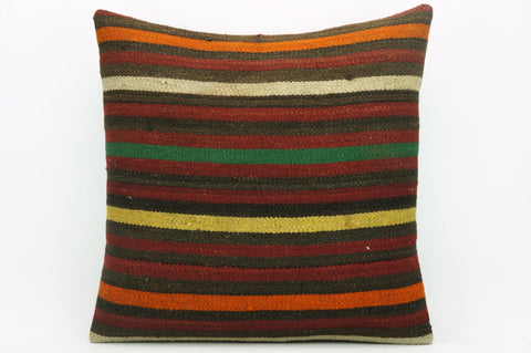 CLEARANCE Pillow cover striped , Kilim cushion cover , 16x16 pillow   1417 - kilimpillowstore  - 1