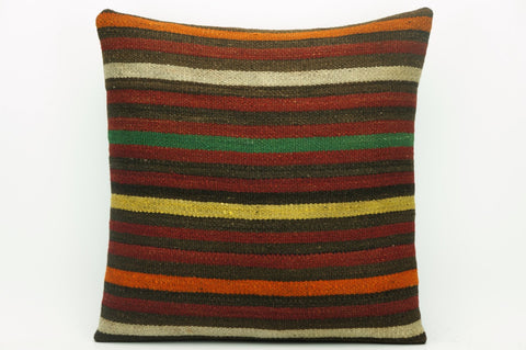 CLEARANCE Cushion cover striped , Kilim pillowcase , 16x16 pillow   1420 - kilimpillowstore  - 1