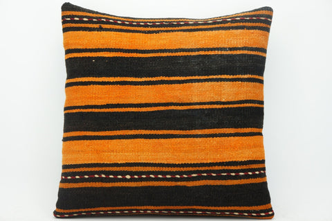 CLEARANCE Striped orange pillow cover , Turkish Kilim pillowcase , 16x16 pillow   1425 - kilimpillowstore  - 1