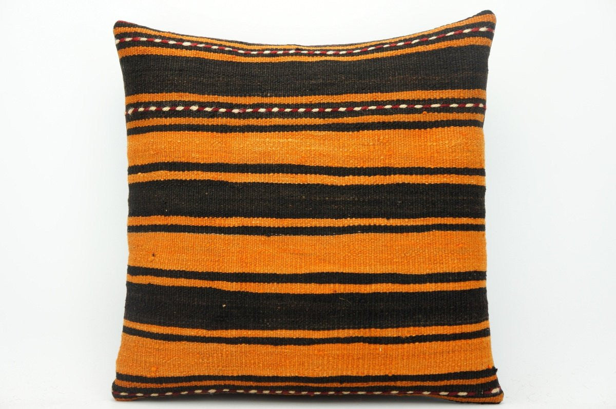 CLEARANCE Striped pillow cover orange , Turkish Kilim pillowcase , 16x16 pillow 1427